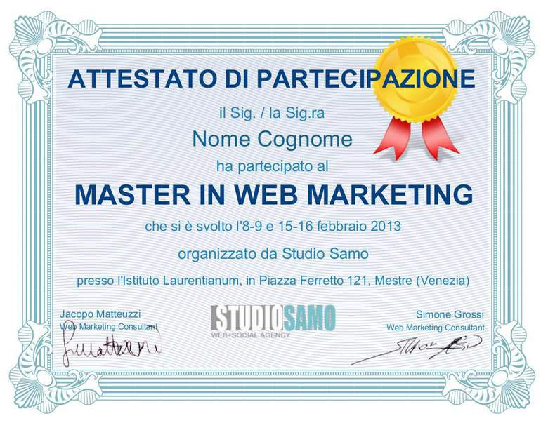 attestato master in web marketing milano