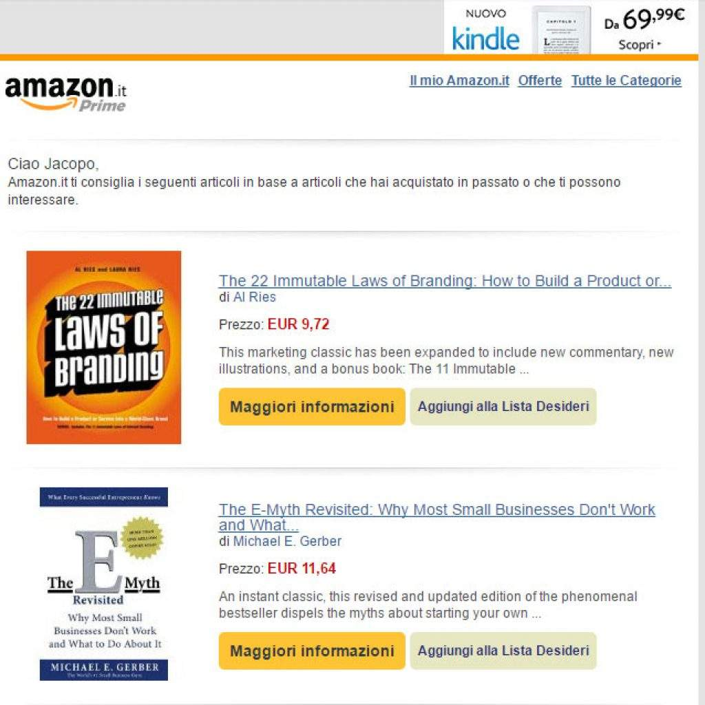 esempio newsletter amazon