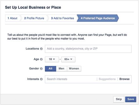 Come creare una pagina Facebook: pagina imprese locali