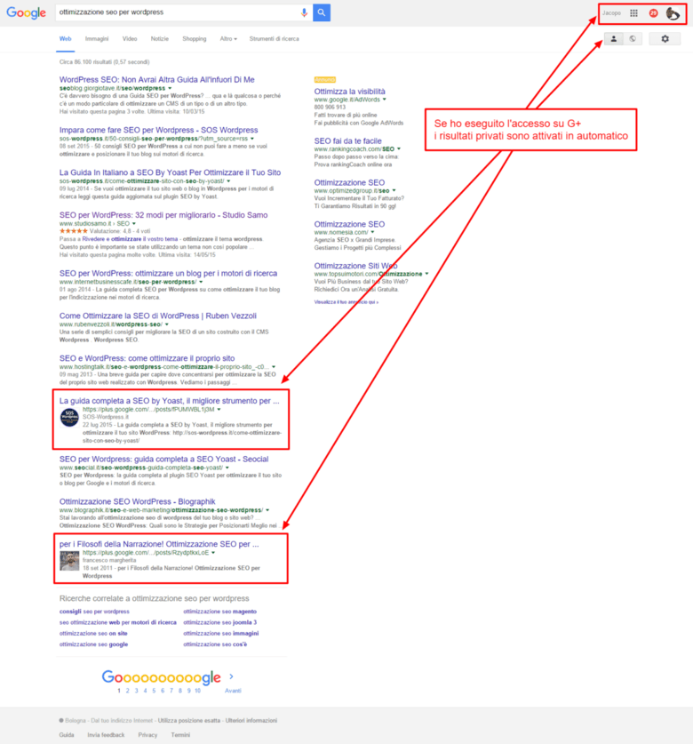 risultati privati google