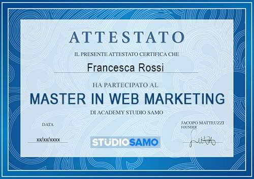 attestato corso web marketing