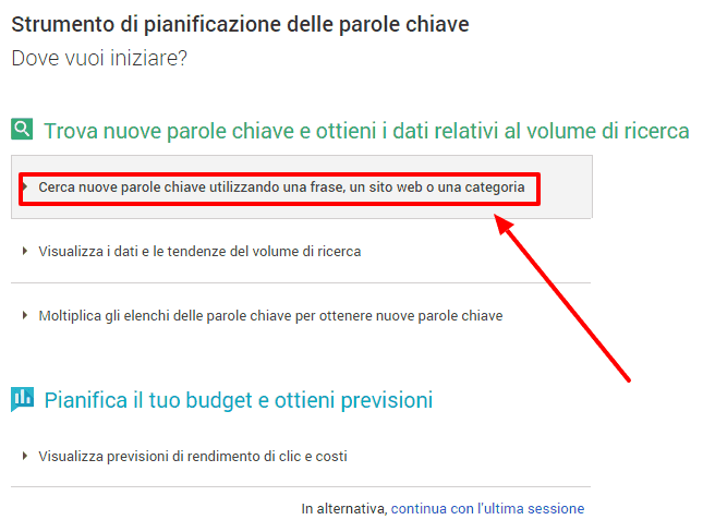 Google AdWords cerca idee