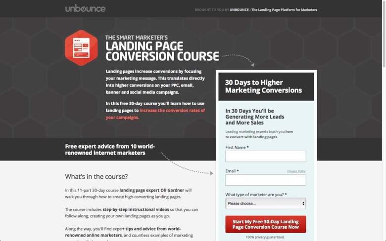 esempio landing page unbounce