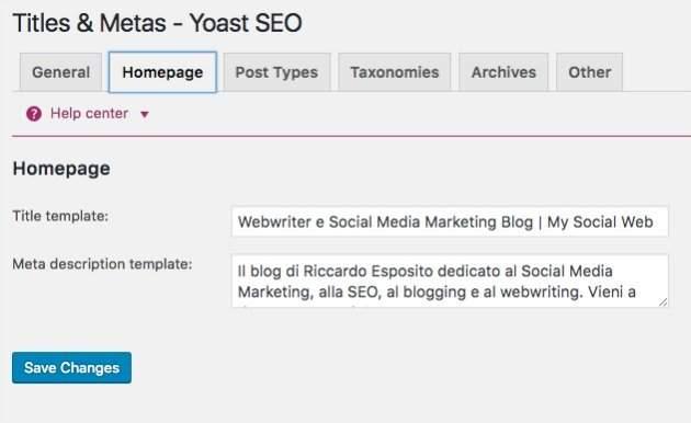 Meta description della home page