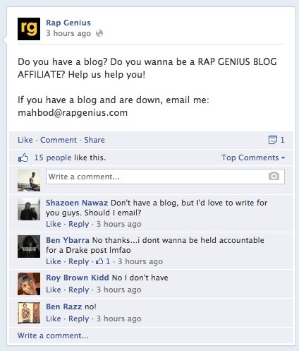 facebook rap genius