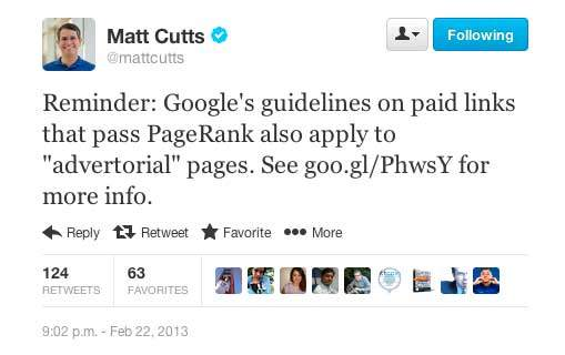 matt cutts advertorial update