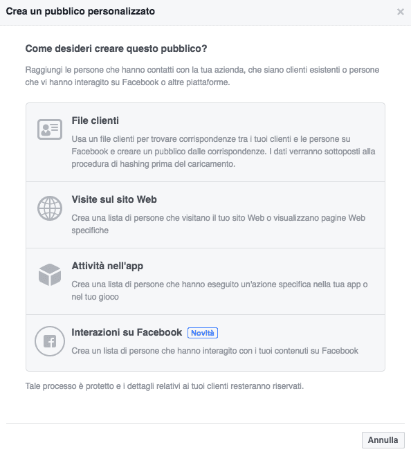 Creare Facebook Custom Audience