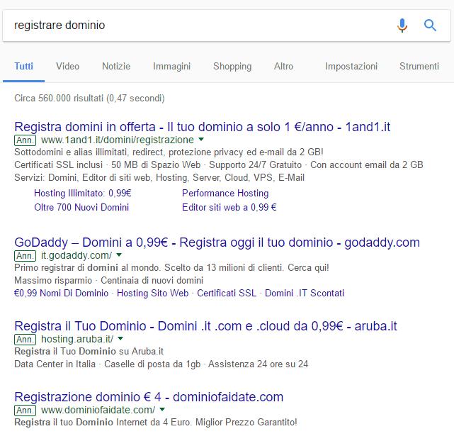 registrare dominio