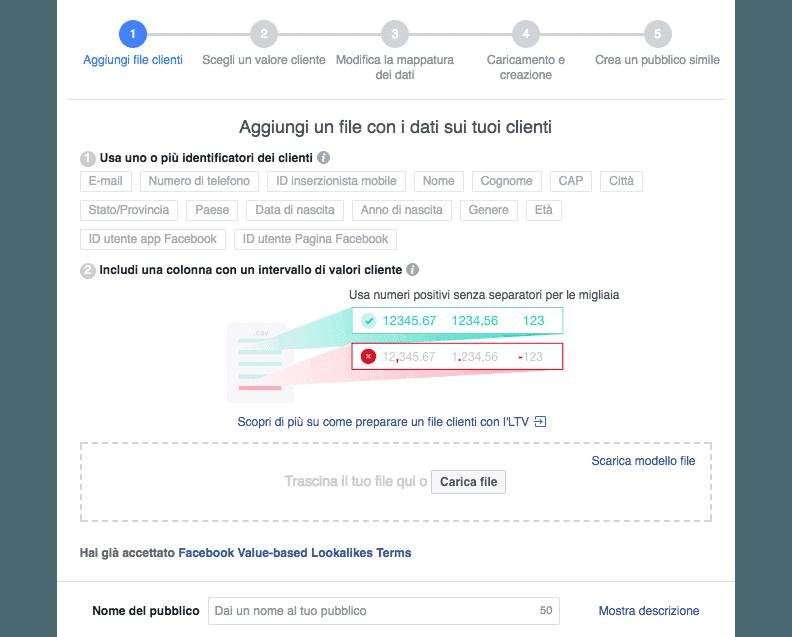 Aggiungere valori a un file di pubblico in Facebook Ads