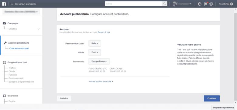 Crea Account Pubblicitario Facebook