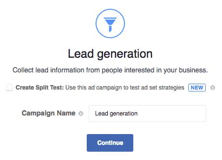 Obiettivo FB Lead Generation