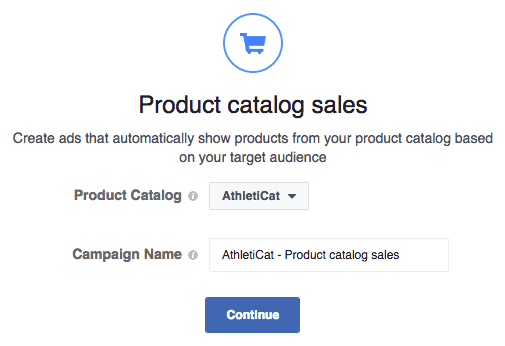 Obiettivo FB Product Catalog Sales