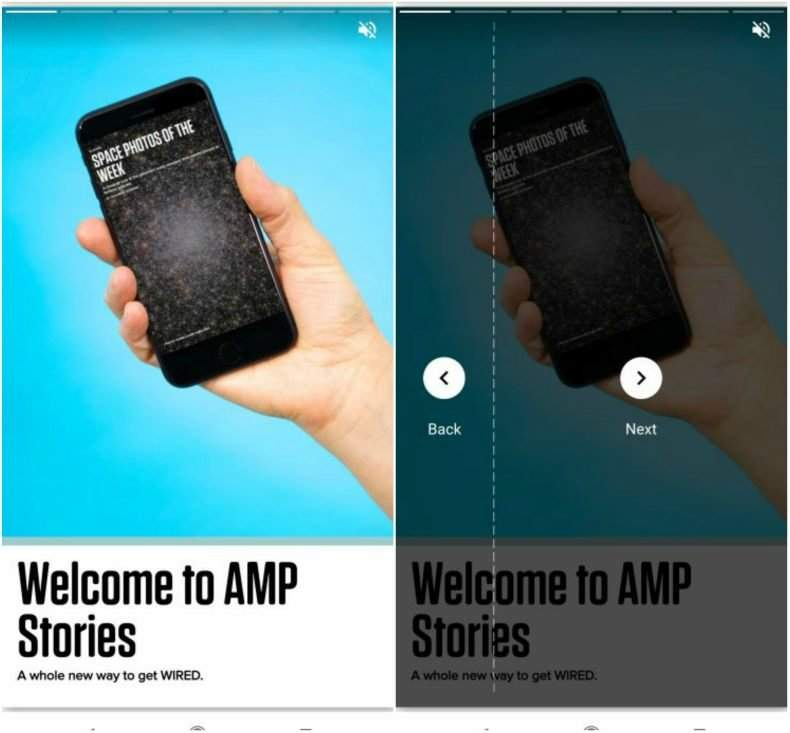 come sfogliare le AMP Stories
