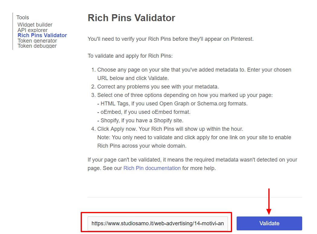 come attivare i rich pin
