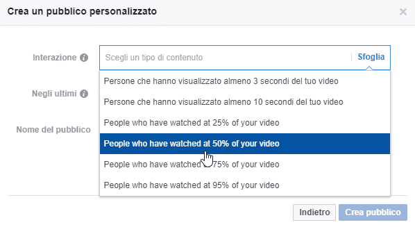 Re-targeting interazione video in Facebook ads