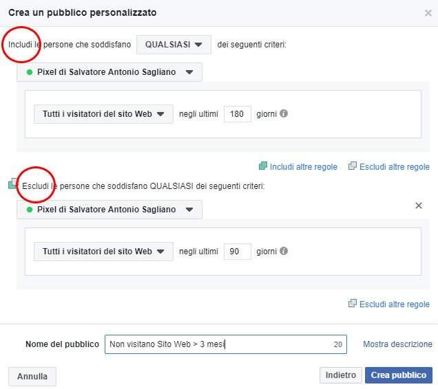 Visitatori sito web per pubblico personalizzato in Facebook ads