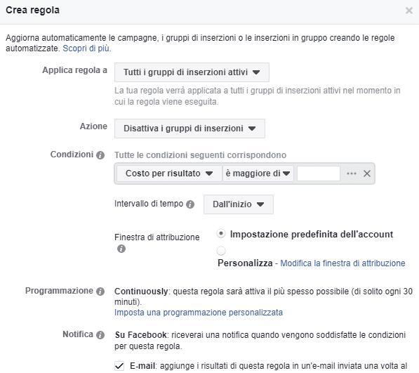 Regole automatizzate in Facebook ads
