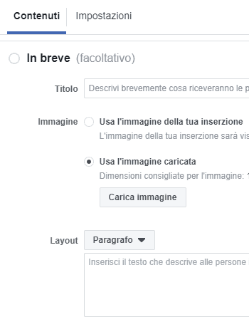 Contenuti in breve nei Lead ads di Facebook