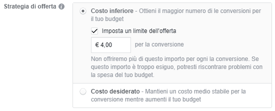 Limite all'offerta per costo inferiore su Facebook
