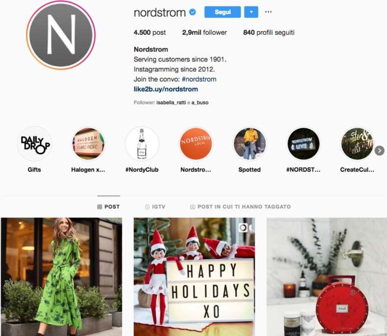 Esempio di Instagram ottimizzato per lo shopping online