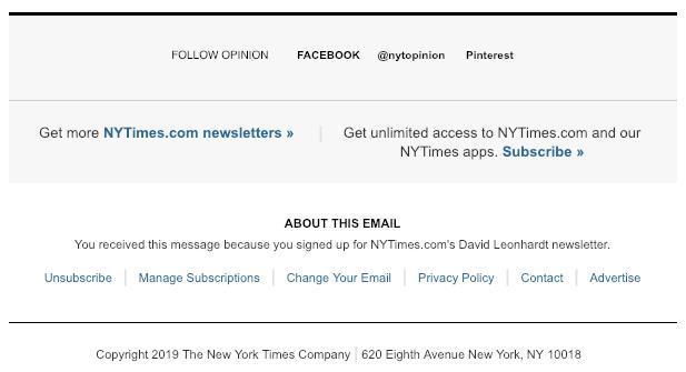 footer newsletter esempio