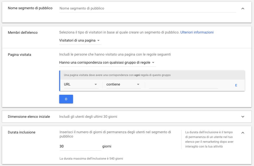 Durata inclusione dei segmenti di pubblico in Google Ads