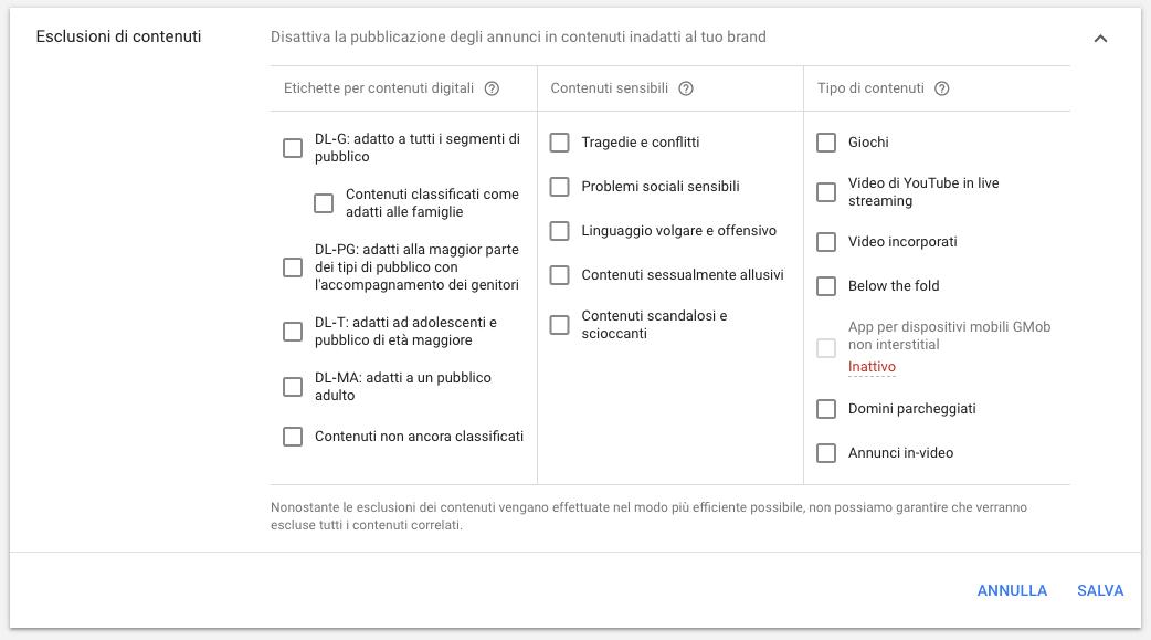 Esclusione di contenuti dalle campagne in rete display