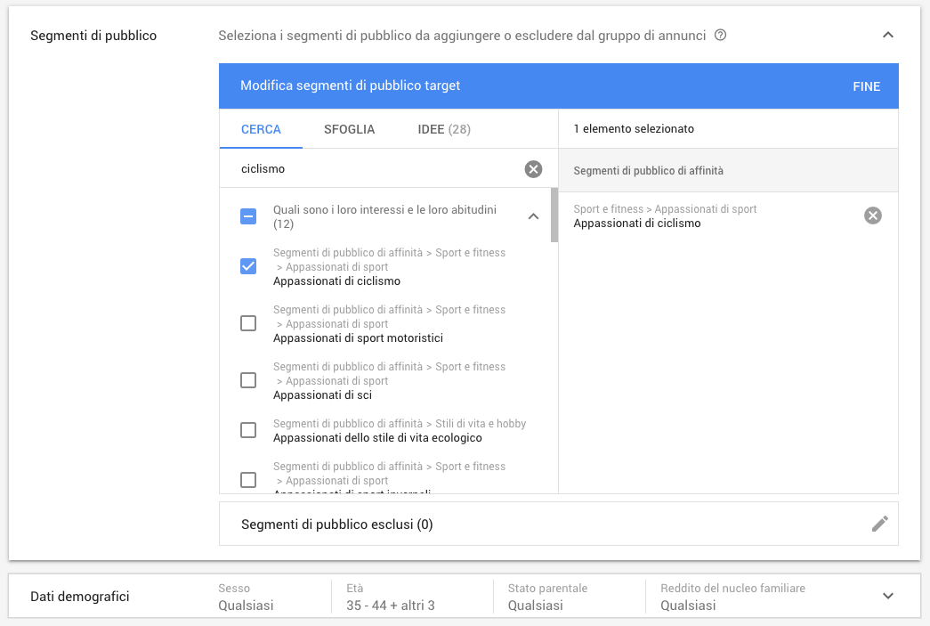 Targeting per affinità e età in Google Ads
