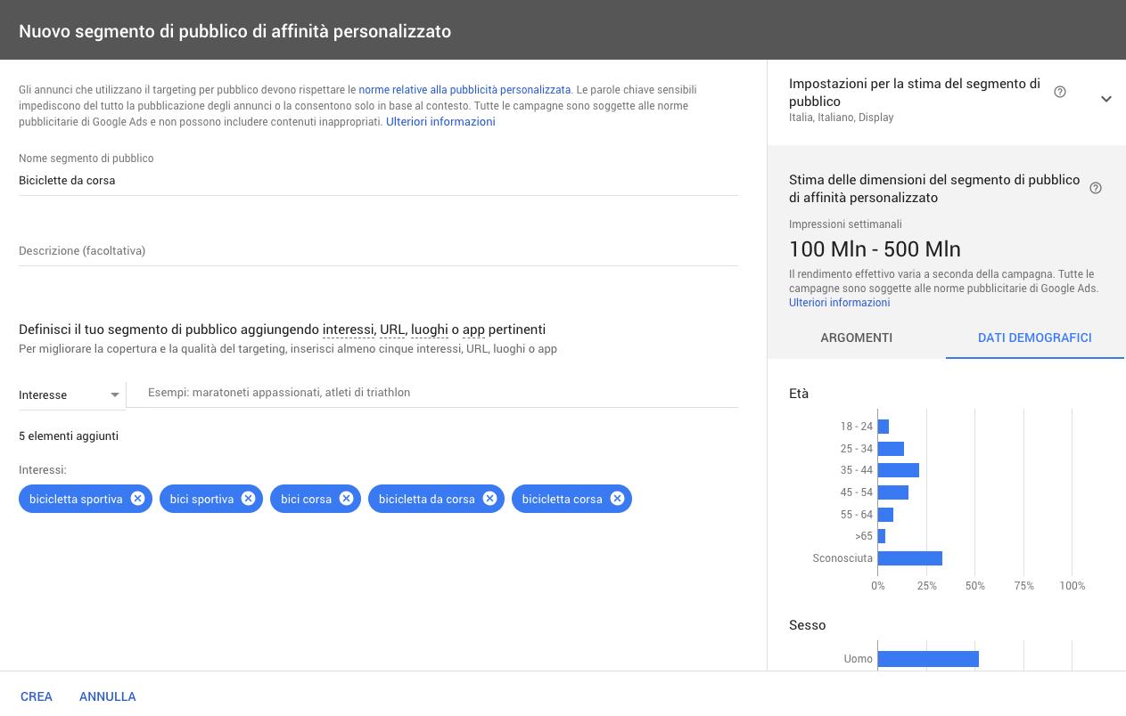 Targeting per segmento di affinità personalizzato in Google Ads