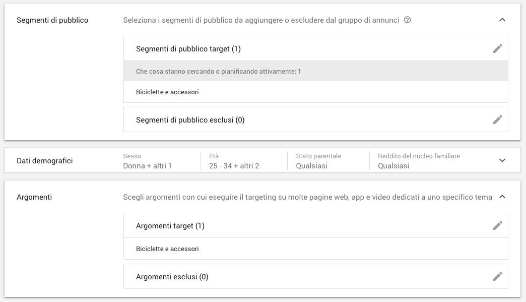 Targeting per segmenti, argomenti, genere e età in Google Ads