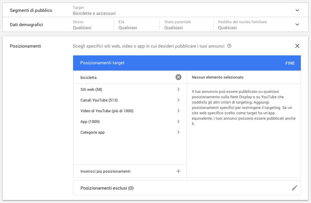 Targeting per segmenti e posizionamenti in Google Ads