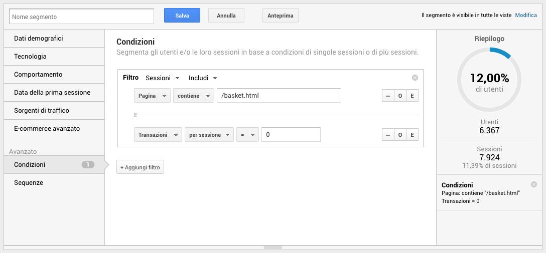 Segmenti di pubblico in Google Analytics - Carrello abbandonato