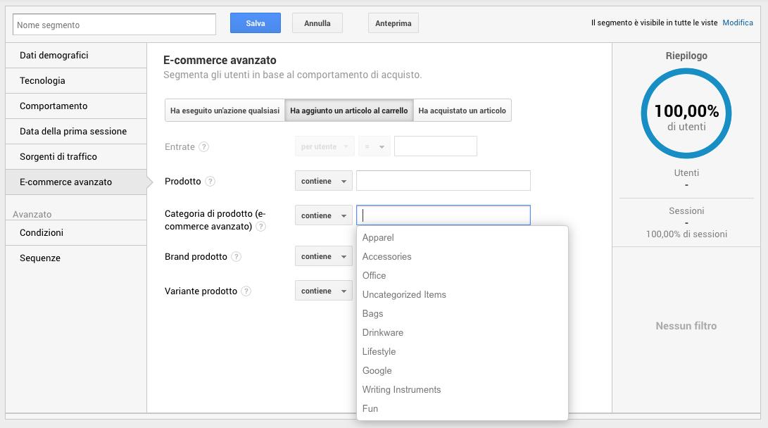 Segmenti di pubblico in Google Analytics - Categoria di prodotto