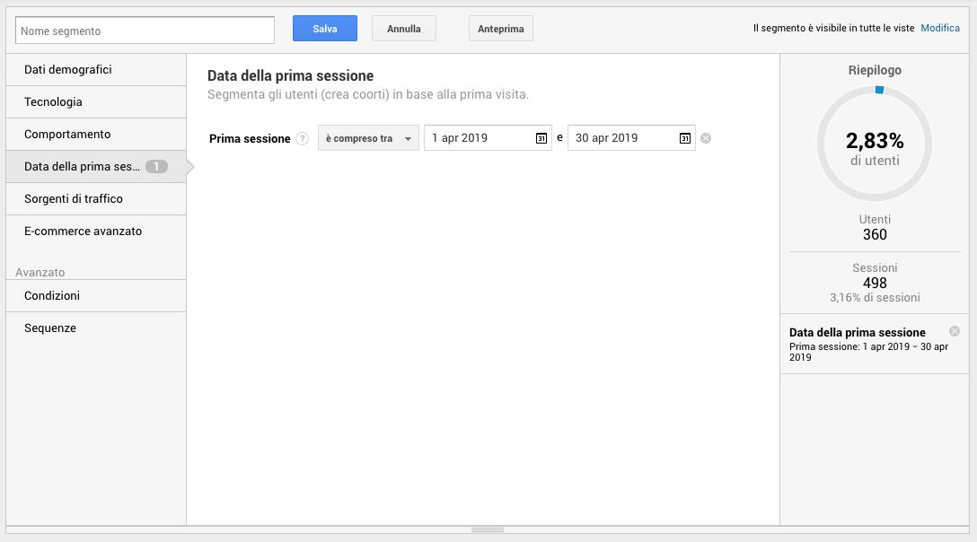 Segmenti di pubblico in Google Analytics - Data della prima sessione