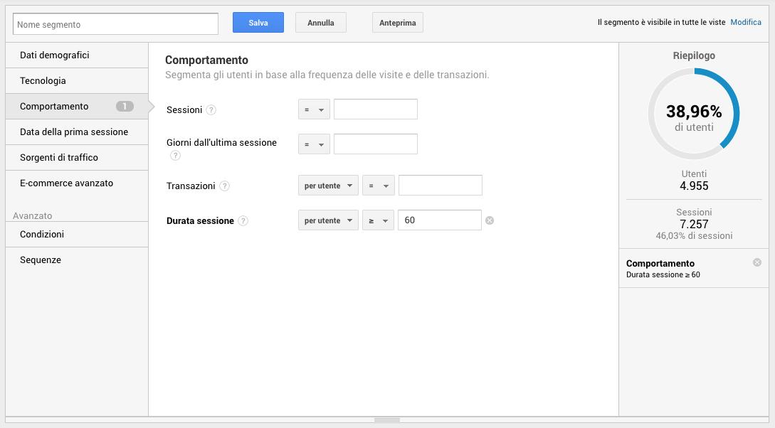 Segmenti di pubblico in Google Analytics - Durata della sessione