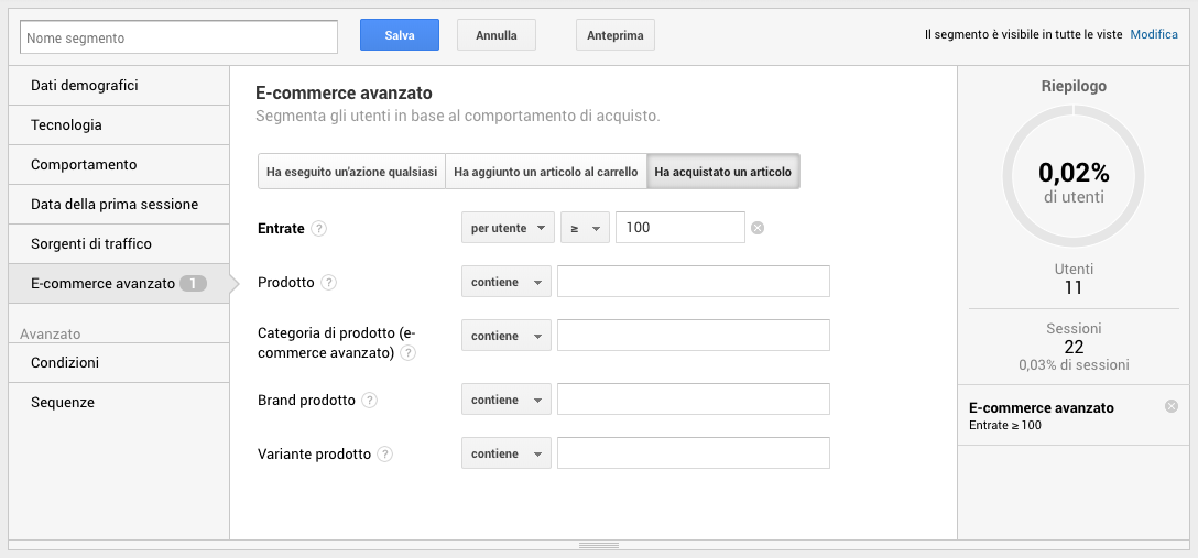 Segmenti di pubblico in Google Analytics - Entrate