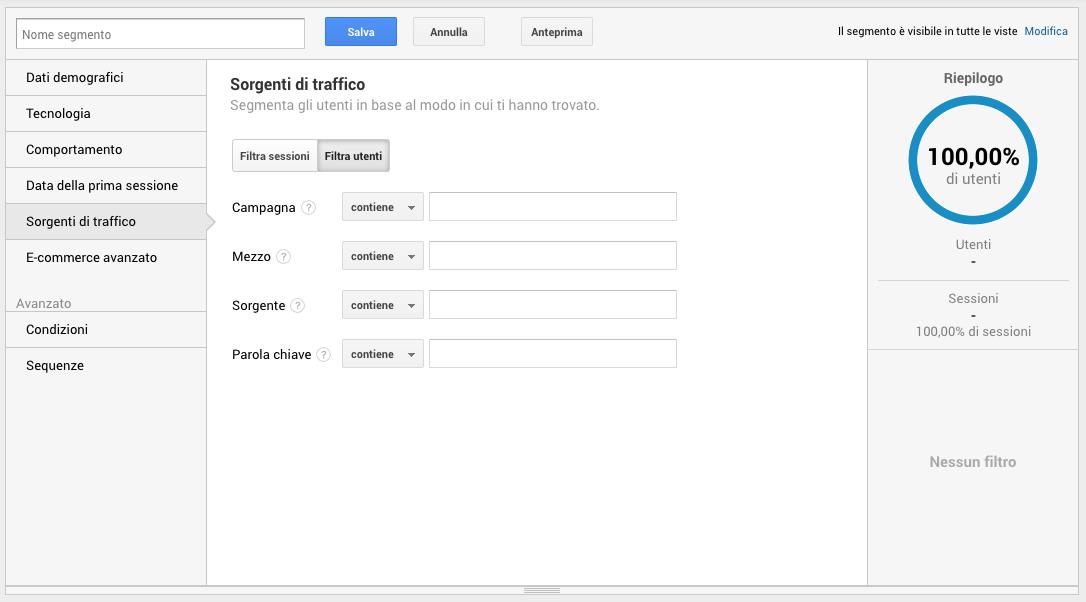 Segmenti di pubblico in Google Analytics - Sorgenti di traffico
