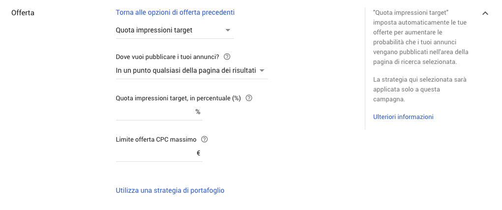 Strategia di offerta quota impressioni target