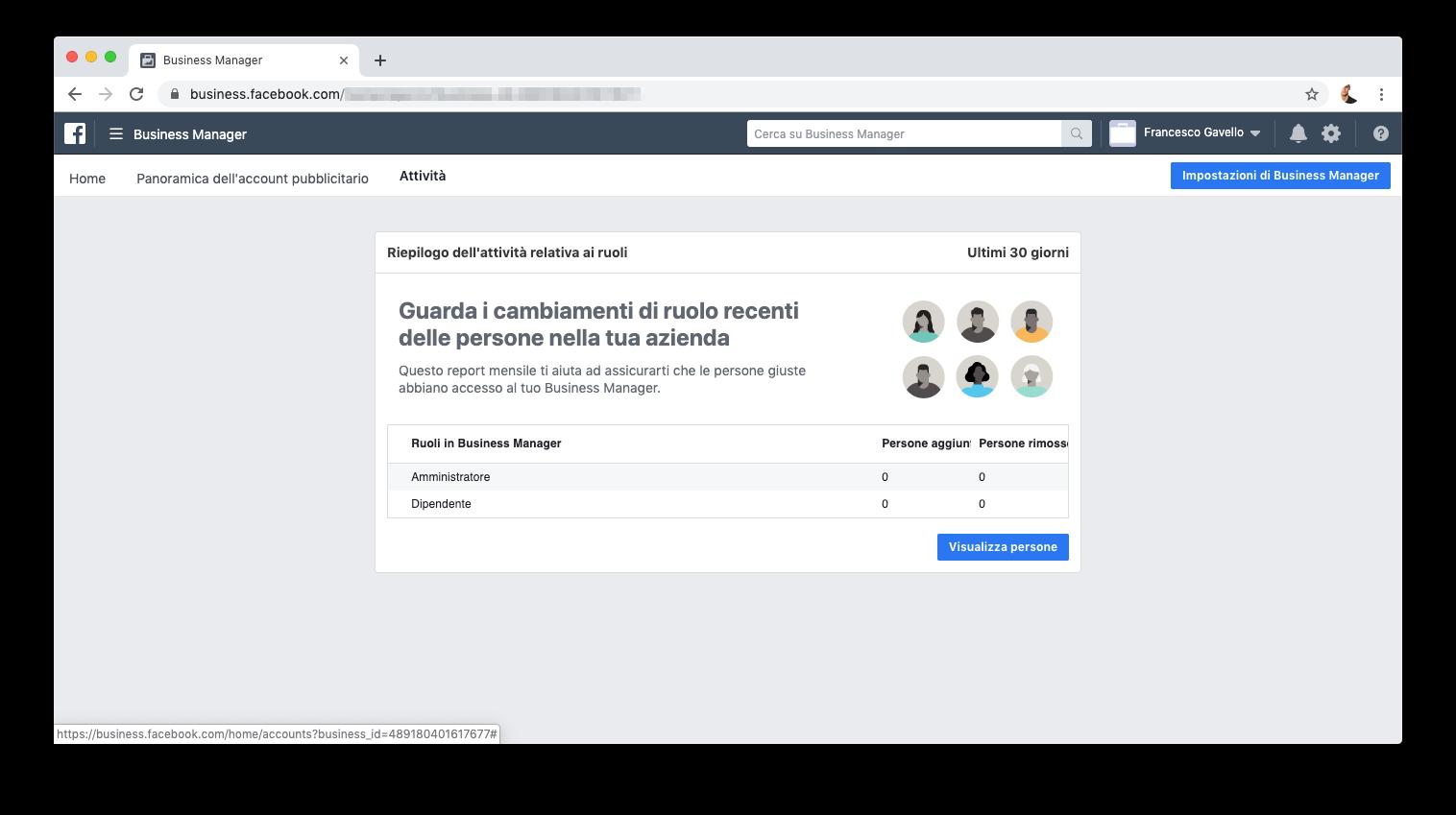 Revisionare l'attività in Facebook Business Manager