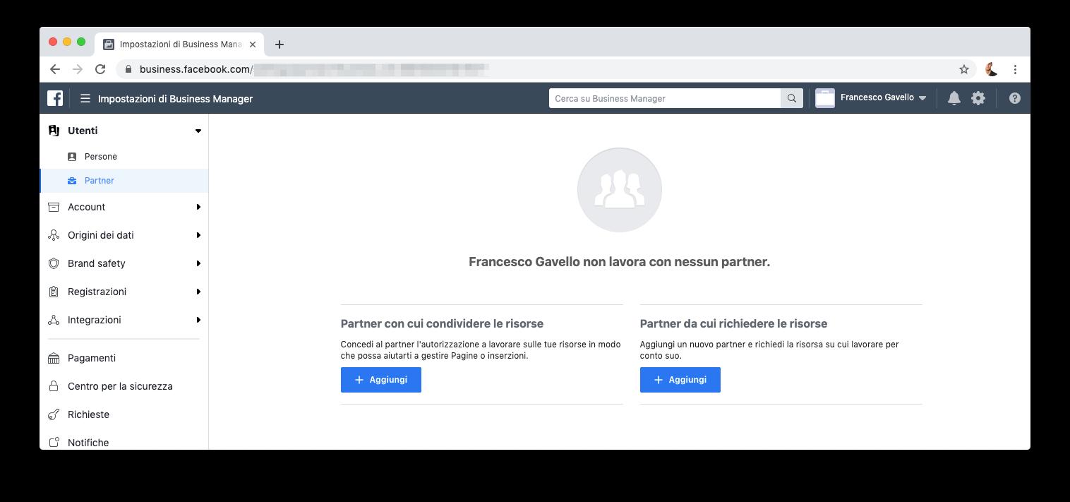 Gestire i partner in Facebook Business Manager