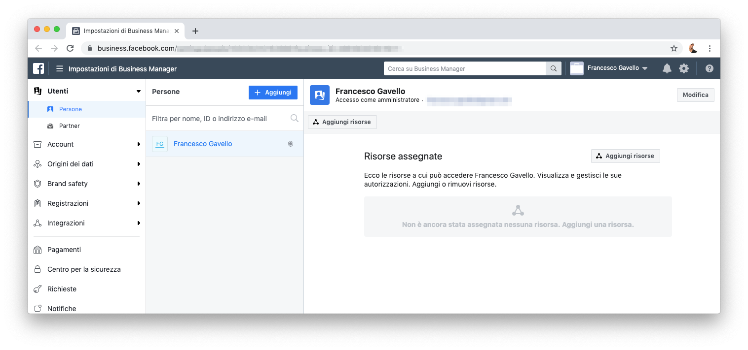 Aggiungere persone e partner in Facebook Business Manager