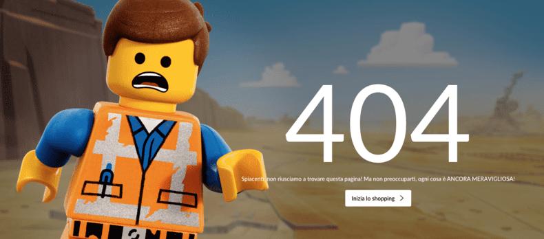 La Lego con la sua pagina errore.