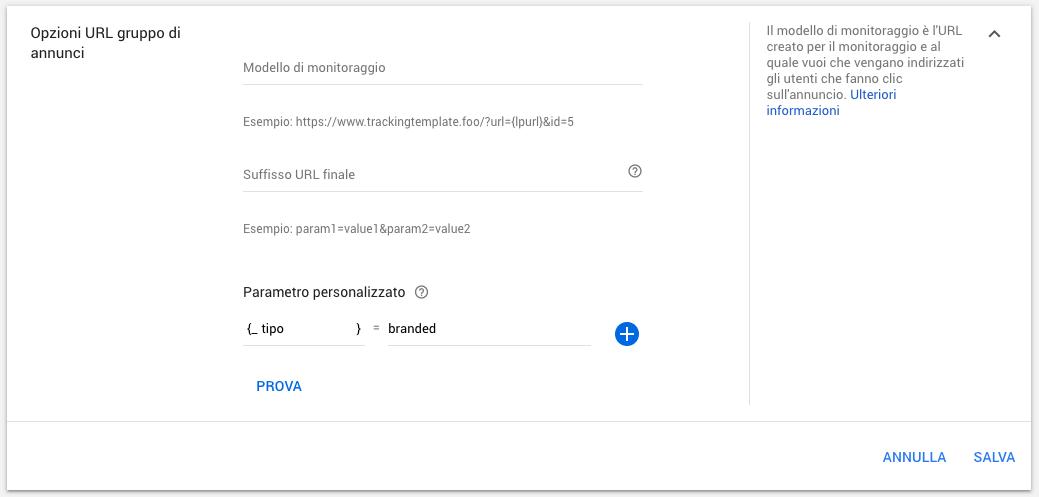 Opzioni URL a livello di gruppo di annunci in Google Ads