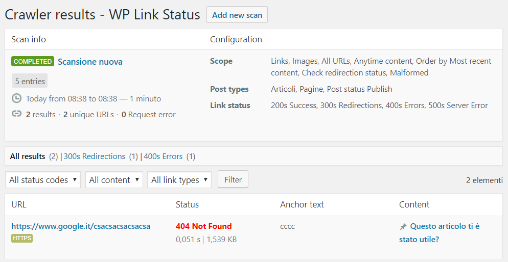 scansione sito con link rotti