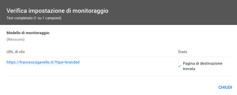 Testare le opzioni URL in Google Ads