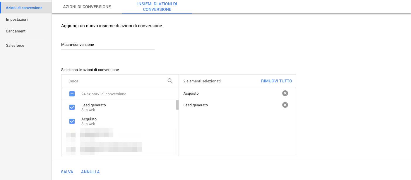 Creazione di un insieme di azioni di conversione in Google Ads