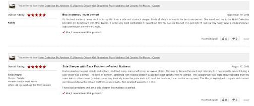 Esempio di recensioni su pagina ecommerce.