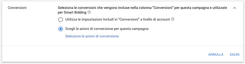 Gestione delle conversioni per una campagna Google Ads