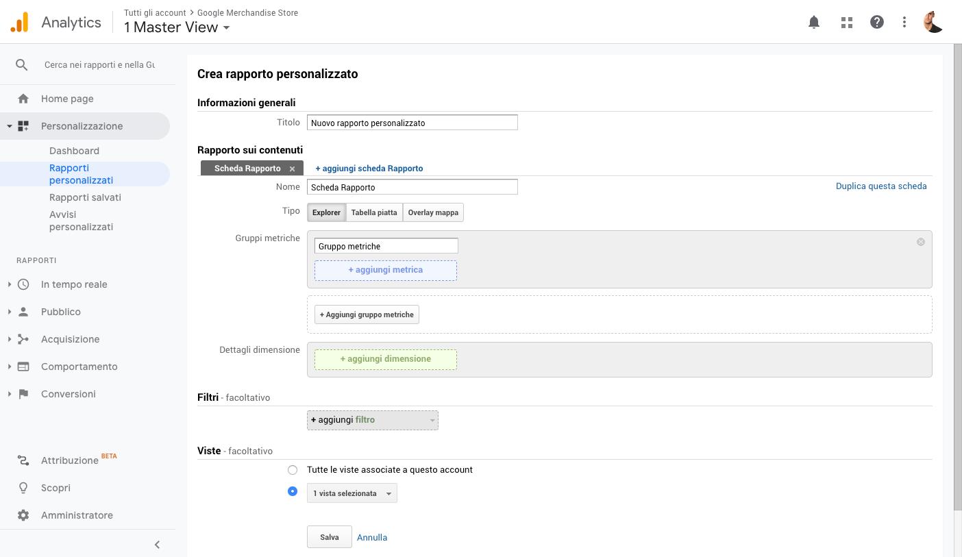 Rapporti personalizzati in Google Analytics