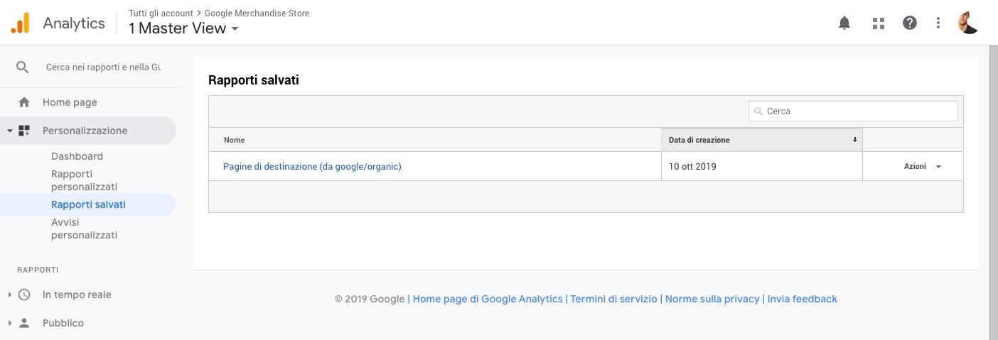 Rapporti salvati in Google Analytics